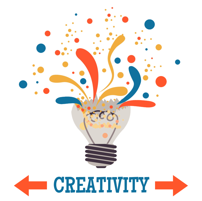 "Illustration of a lightbulb exploding with ideas with the words ""Creativity"" at the bottom"