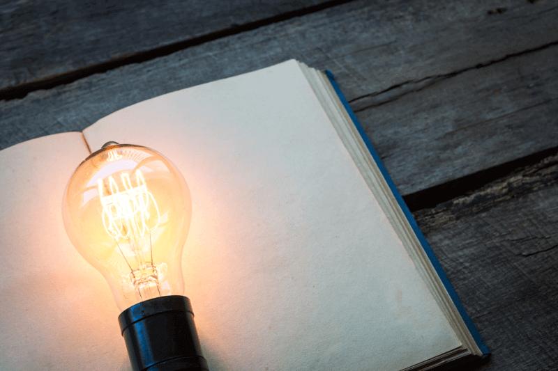 Journal-and-light-bulb