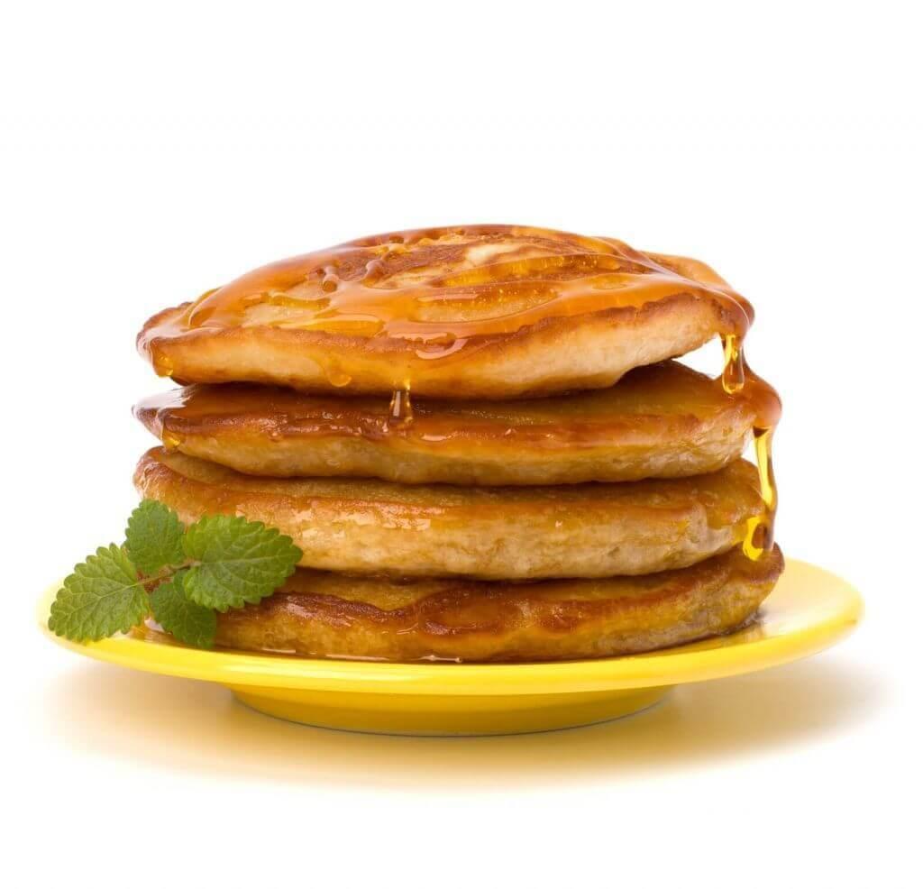 Pankcakes-on-yellow-plate